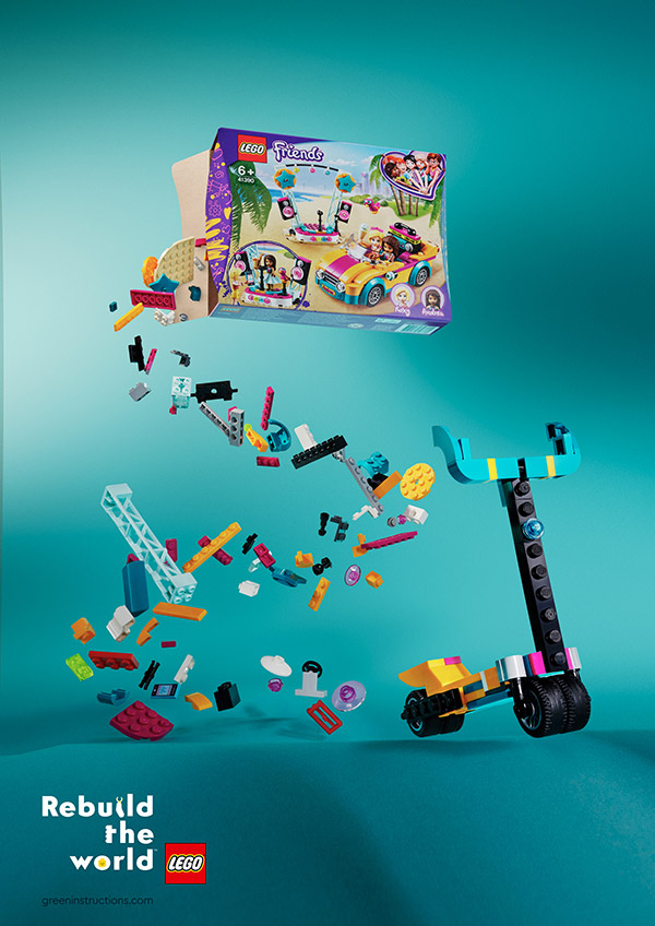 """Bricks spill out from the LEGO Friends set and form a scooter; """"Kids prefer scooters"""" written at the top and at the bottom: """"Rebuild the World""""."""