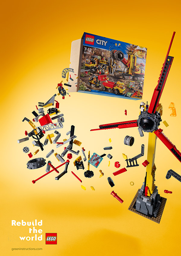 """Bricks spill out from the LEGO City set and form a windmill; """"Kids prefer windmills"""" written at the top and at the bottom: """"Rebuild the World""""."""