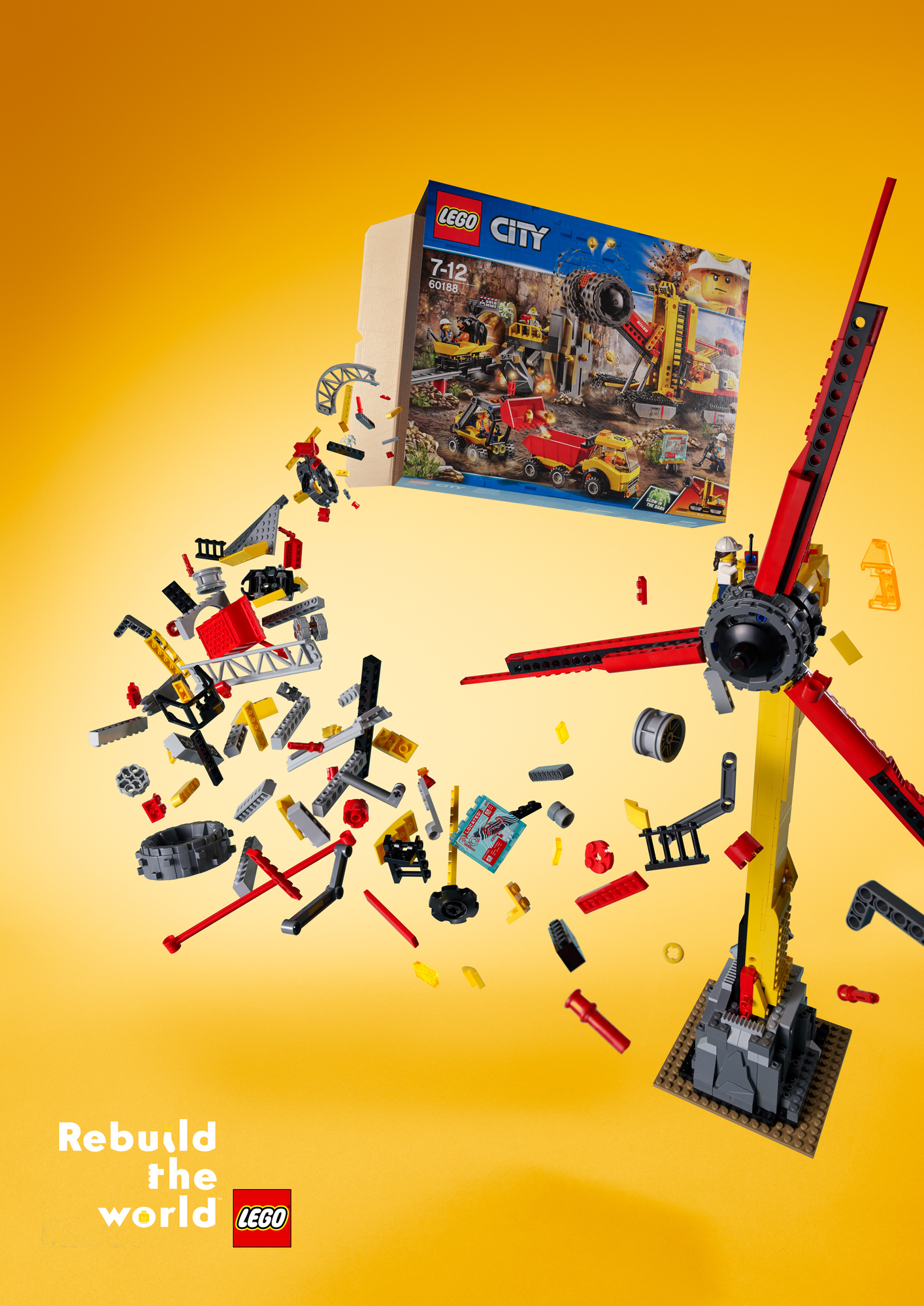 "Bricks spill out from the LEGO City set and form a windmill; ""Kids prefer windmills"" written at the top and at the bottom: ""Rebuild the World""."