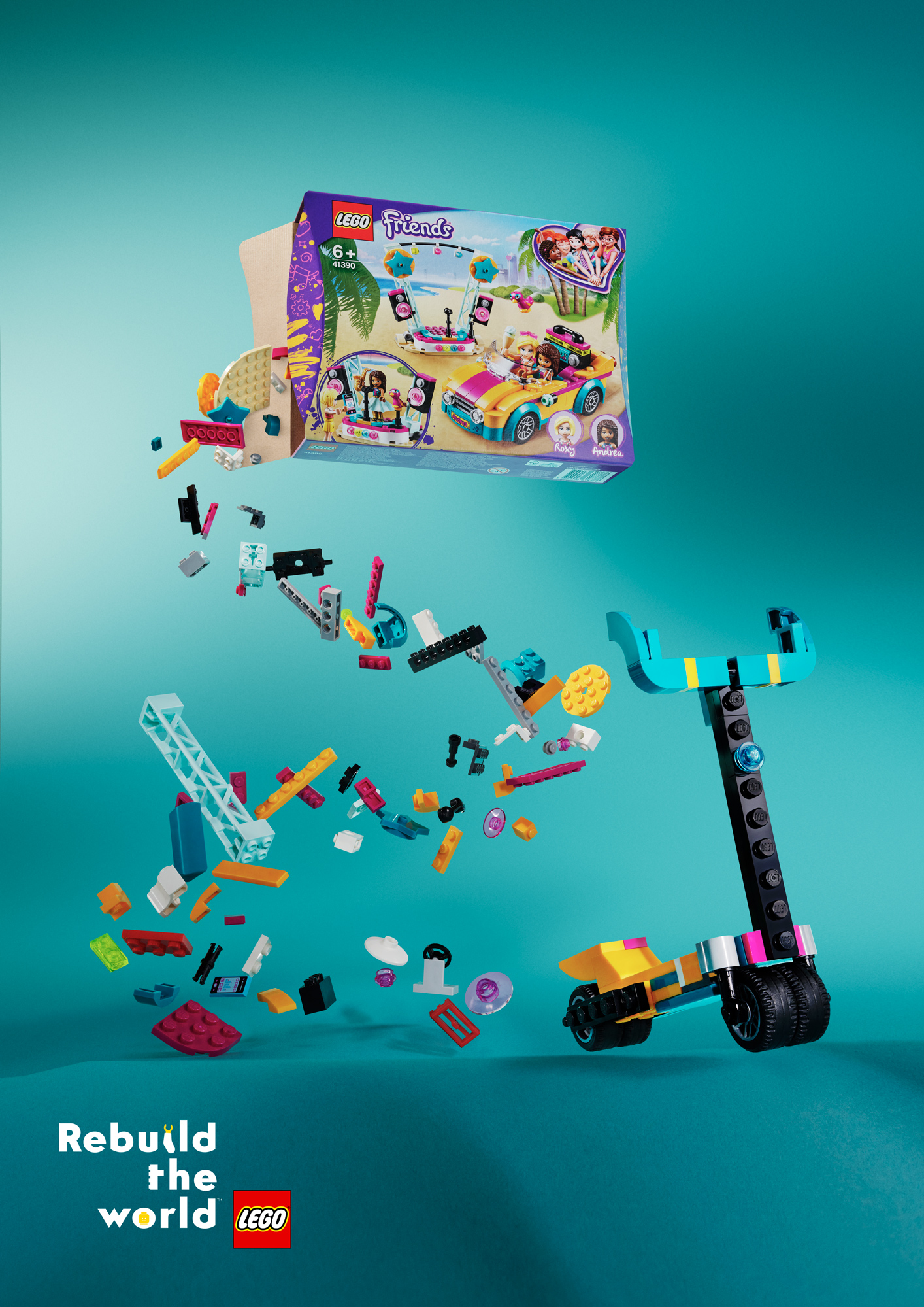 "Bricks spill out from the LEGO Friends set and form a scooter; ""Kids prefer scooters"" written at the top and at the bottom: ""Rebuild the World""."