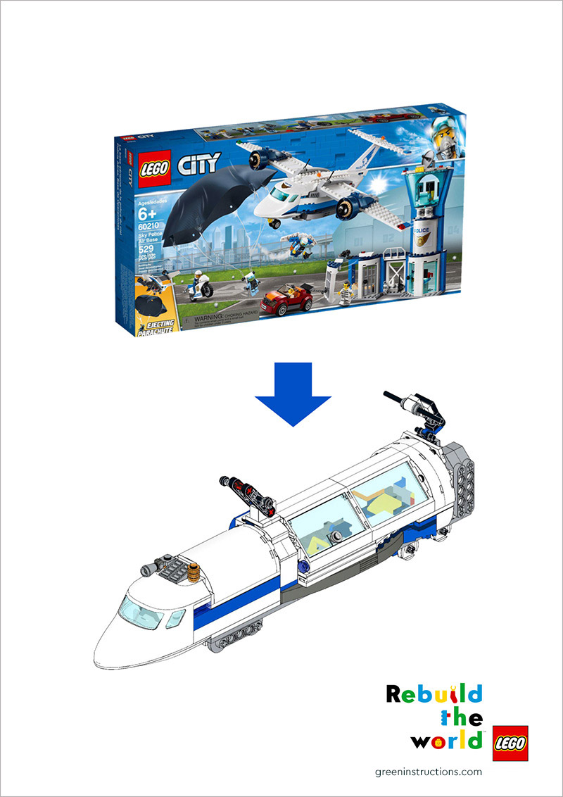 """Arrow pointing down from LEGO® City police airport set box to high speed train build with LEGO® Bricks; Written at the bottom: """"Rebuild the World""""."""