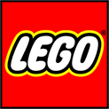 Lego logotype on the red background